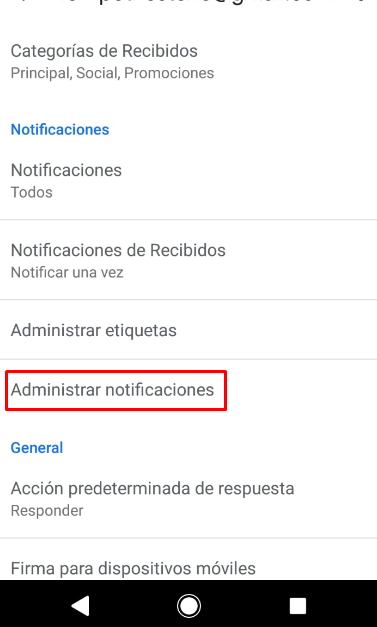 configurar notificaciones para mail