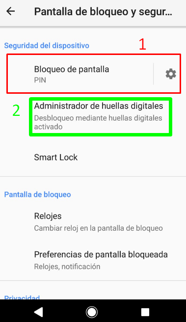 seguridad del dispositivo